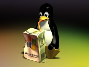Mascotte Linux buvant Windows - formation informatique et ressources humaines - JL Gestion - bruxelles